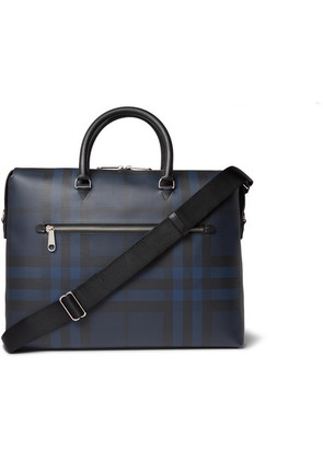 Burberry - Checked Textured-leather Briefcase - Navy