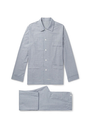 Anderson & Sheppard - Prince Of Wales Checked Brushed Cotton-twill Pyjama Set - Blue