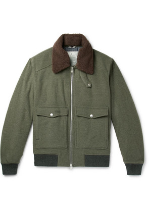 Brunello Cucinelli - Shearling-trimmed Wool And Cashmere-blend Felt Bomber Jacket - Army green