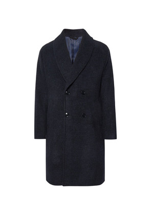 MP Massimo Piombo - Double-breasted Shawl-collar Baby Alpaca-blend Coat - Midnight blue