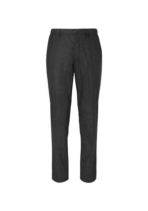 Altea - Puppytooth Wool-blend Drawstring Trousers - Charcoal