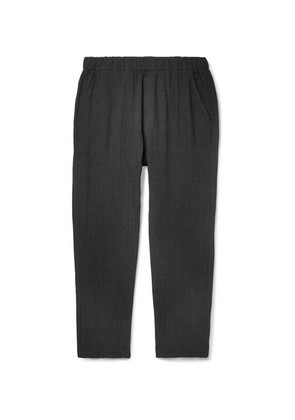 Barena - Charcoal Cropped Tapered Slub Linen And Cotton-blend Trousers - Black