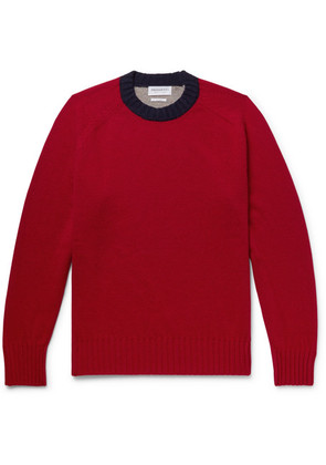 President's - Colour-block Wool Sweater - Red