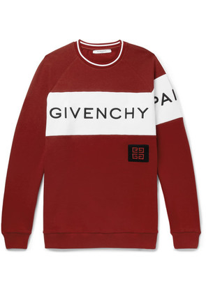 Givenchy - Logo-embroidered Fleece-back Cotton-jersey Sweatshirt - Red