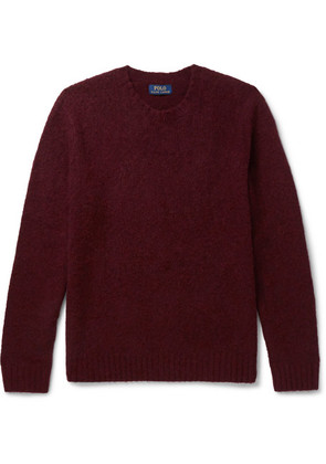 Polo Ralph Lauren - Suede Elbow-patch Wool And Cashmere-blend Sweater - Merlot