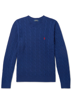 Polo Ralph Lauren - Cable-knit Merino Wool And Cashmere-blend Sweater - Blue