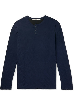 Isabel Benenato - Oversized Double-faced Crinkled Cotton-jersey Henley T-shirt - Blue