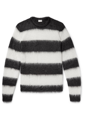 Saint Laurent - Distressed Striped Mohair-blend Sweater - Black
