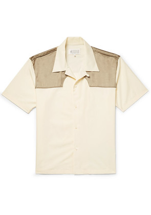 Maison Margiela - Camp-collar Satin-panelled Cotton-poplin Western Shirt - Cream