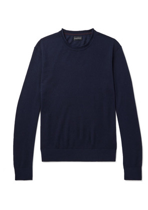 Club Monaco - Slim-fit Merino Wool, Silk And Cashmere-blend Sweater - Navy