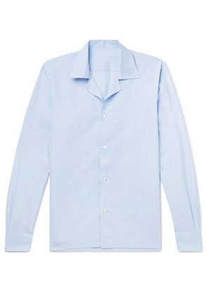 Caruso - Camp-collar Striped Slub Cotton And Linen-blend Shirt - Light blue
