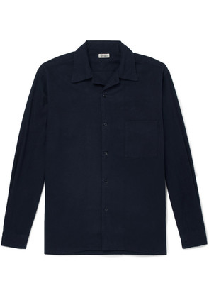 Camoshita - Camp-collar Cotton-flannel Shirt - Navy