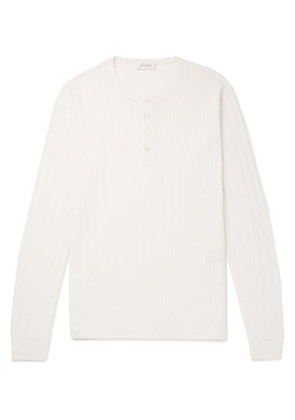 Brioni - Wool And Silk-blend Henley T-shirt - Off-white