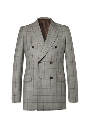 Alexander McQueen - Slim-fit Double-breasted Prince Of Wales Checked Wool And Mohair-blend Suit Jacket - Gray