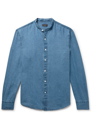 Club Monaco - Grandad-collar Linen-chambray Shirt - Blue