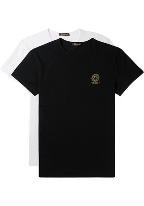Versace - Two-pack Slim-fit Stretch-cotton Jersey T-shirts - Black