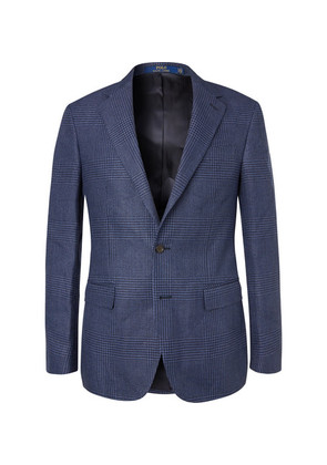 Polo Ralph Lauren - Navy Prince Of Wales Checked Linen And Cotton-blend Blazer - Blue