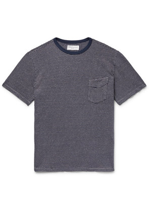 Officine Generale - Striped Cotton And Linen-blend Jersey T-shirt - Lilac