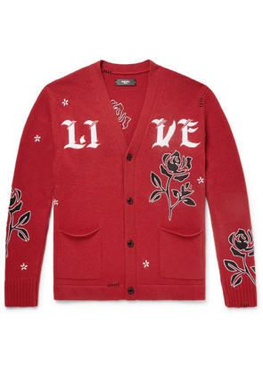 AMIRI - Leather-appliquéd Cashmere And Wool-blend Cardigan - Red