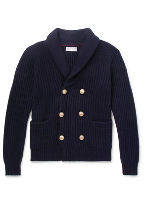 Brunello Cucinelli - Shawl-collar Double-breasted Ribbed Cashmere Cardigan - Navy