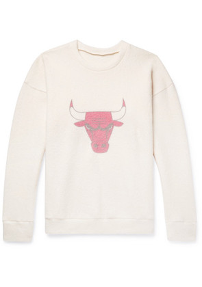 The Elder Statesman - + Nba Chicago Bulls Printed Brushed Cashmere-blend Sweatshirt - Cream