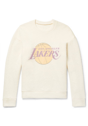 The Elder Statesman - + Nba Los Angeles Lakers Printed Brushed-cashmere Sweatshirt - Yellow