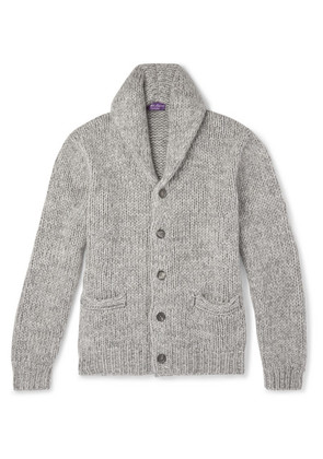 Ralph Lauren Purple Label - Shawl-collar Mélange Cashmere Cardigan - Gray