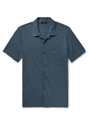 Theory - Slim-fit Camp-collar Mélange Slub Linen Shirt - Storm blue