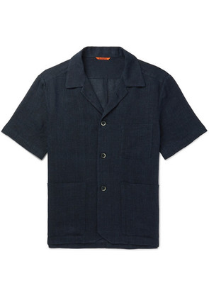Barena - Camp-collar Linen And Cotton-blend Shirt - Navy