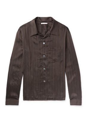 Our Legacy - P.x. Camp-collar Striped Satin Shirt - Brown