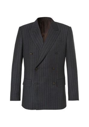 Kingsman - Eggsy's Charcoal Double-breasted Chalk-striped Wool Suit Jacket - Charcoal