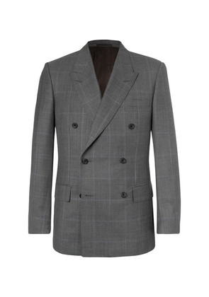 Kingsman - Harry's Grey Double-breasted Prince Of Wales Checked Wool Suit Jacket - Gray