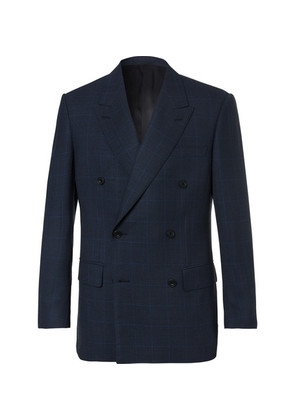 Kingsman - Arthur's Navy Double-breasted Checked Suit Jacket - Navy