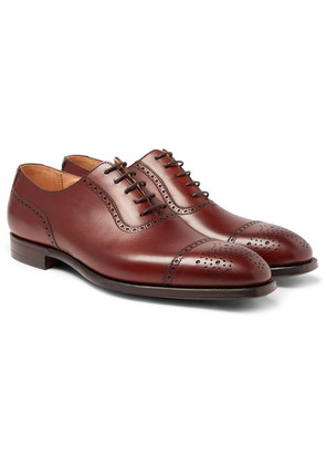 George Cleverley - Adam Cap-toe Burnished-leather Oxford Brogues - Brown