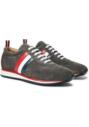 Thom Browne - Striped Suede And Leather Sneakers - Gray