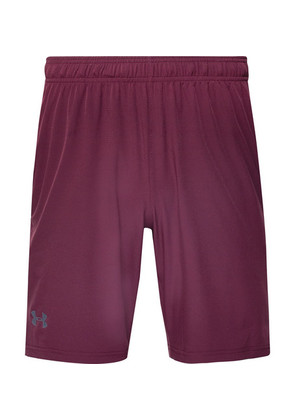 Under Armour - Cage Mesh-trimmed Stretch-shell Shorts - Burgundy