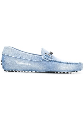 Tod's Double-T logo denim loafers - Blue