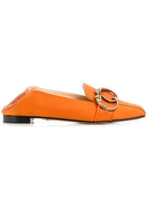 Charlotte Olympia buckle detail loafers - Orange