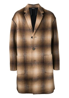 No21 checked single-breasted coat - Neutrals