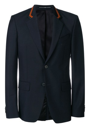 Givenchy leather detailed blazer - Blue