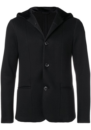 Emporio Armani buttoned hooded jacket - Black