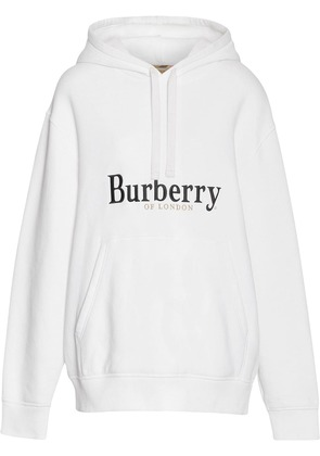 Burberry Embroidered Logo Jersey Hoodie - White
