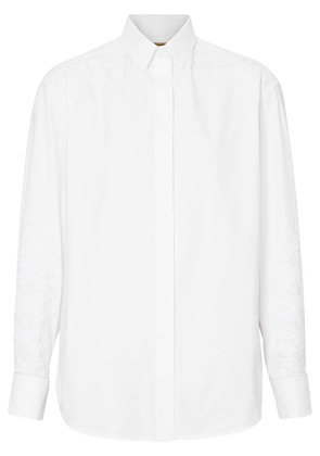 Burberry Floral Embroidered Cotton Dress Shirt - White
