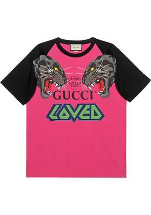 Gucci Oversize t-shirt with tigers - Pink
