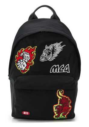 McQ Alexander McQueen Flaming badge patch backpack - Black