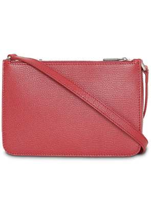 Burberry Triple Zip Grainy Leather Crossbody Bag - Red