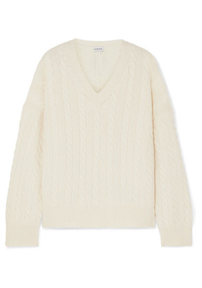 Loewe - Leather-trimmed Cable-knit Wool Sweater - White