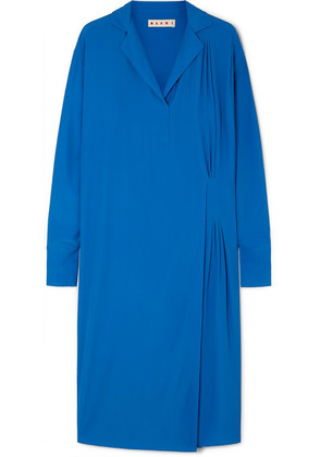 Marni - Pleated Crepe De Chine Midi Dress - Blue