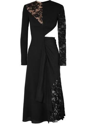 Givenchy - Cutout Paneled Wool-crepe, Silk Crepe De Chine And Lace Midi Dress - Black