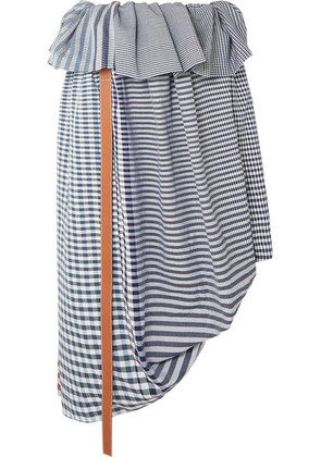 Loewe - Asymmetric Leather-trimmed Checked Cotton-jacquard Midi Skirt - Blue
